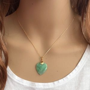 Solid Yellow Gold Heart Jade Pendant Necklace